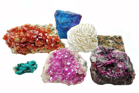 calcite: celestite quartz dioptase  semigem crystals geological mineral isolated