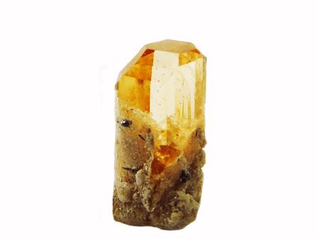 orange topaz gem crystal geological mineral isolated Stock Photo