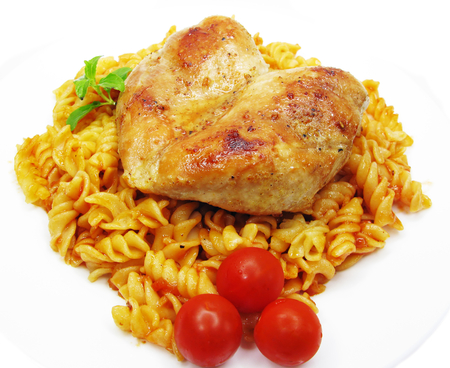 chicken roast meat with pasta and tomato photo