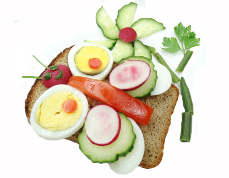 creative sandwich with egg and vegetables butterfly form photo