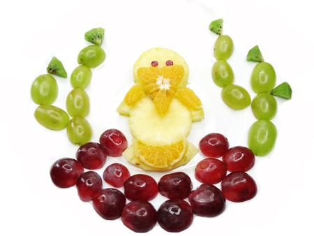 nestling: creative fruit dessert for child funny form nestling bird