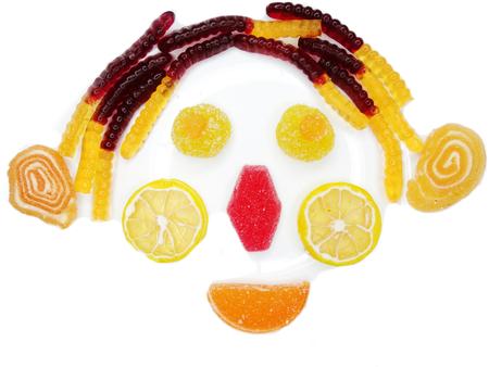 clown face: creative marmalade candy sweet child dessert clown face form