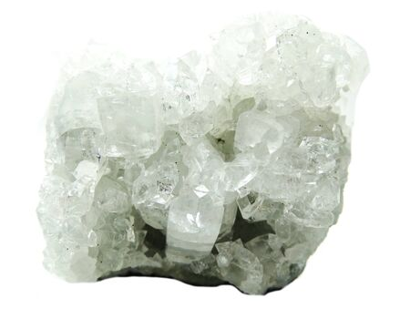 geological: apophyllite semigem geode crystals geological mineral isolated
