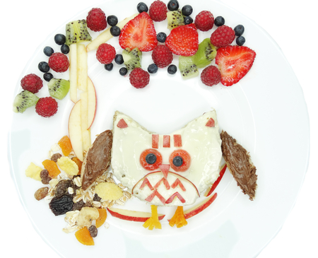 breakfast food: creative breakfast food with fruit and sweet cream on bread