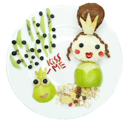 breakfast food: creative breakfast food with fruit and chocolate sweet cream on bread Stock Photo