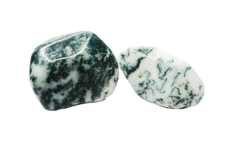 chalcedony: moss agate with chalcedony geological crystal isolated