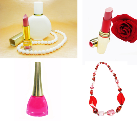 nail lacquer: cosmetic nail lacquer lipstick beads collage
