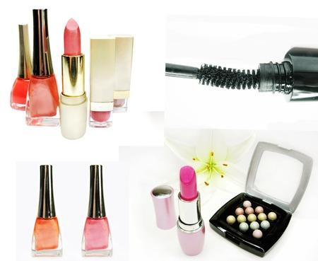 eye shadows: eye shadows cosmetic pencils nail polishers mascara lipstick isolated Stock Photo