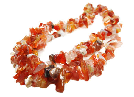 carnelian: carnelian gemstone beads isolated on white background