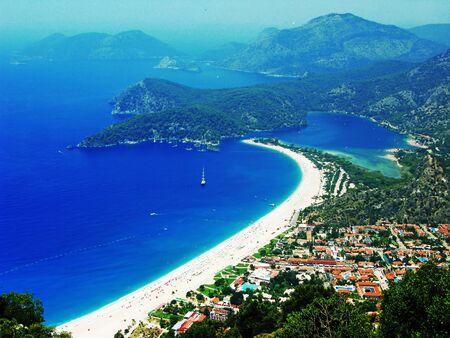 oludeniz: mediterranean sea landscape view of oludeniz beach coast and mountains