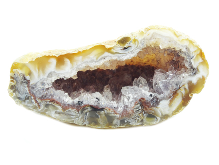 chalcedony: agate with chalcedony geological crystal isolated