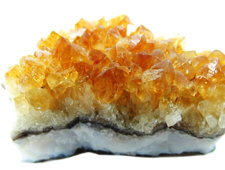 geological: citrine semigem geode crystals geological mineral isolated