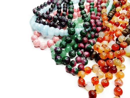 green tourmaline: jewelry semiprecious beads made of geological minerals