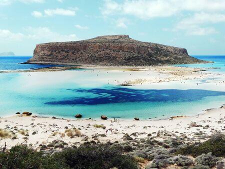 tyrrhenian: mediterranean sea landscape view of beach and mountains on Crete island