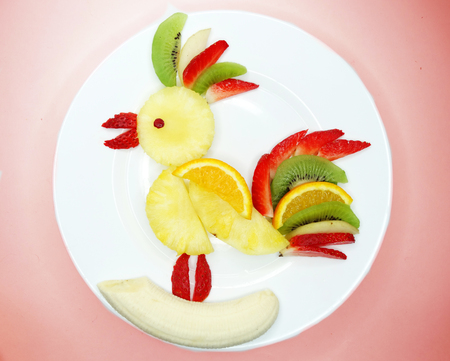 creative fruit dessert for child funny form bird
