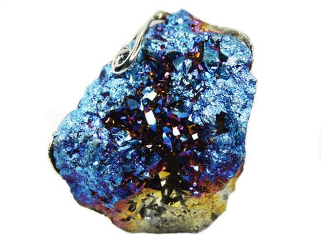 aura: natural quartz aura titan semigem geode crystals geological mineral isolated