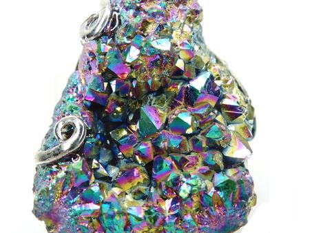 aura: natural quartz aura titan semigem geode crystals geological mineral isolated  Stock Photo