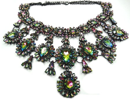 jewelry necklace with bright multicolor crystals luxury fashion accessory Stock Photo