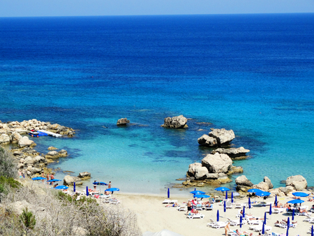 sandy beach coast in the mediterranean sea landscape on Cyprus island