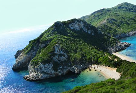 porto timoni beach coast in the ionian sea landscape on Corfu island