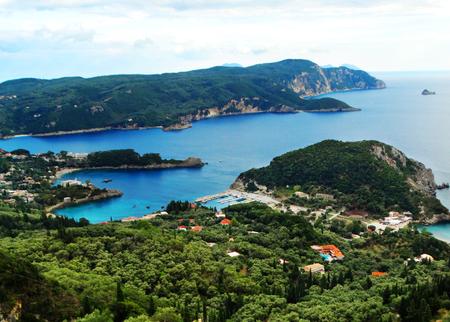 paleokastritsa famous resort beach coast in the ionian sea landscape on Corfu island