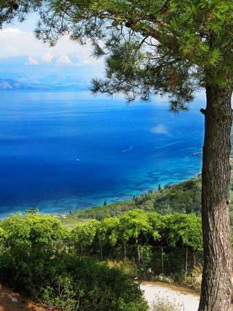 beach coast in the ionian sea landscape on Corfu island