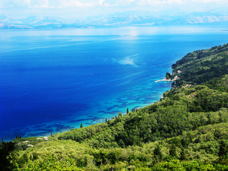 blue lagoon beach coast in the ionian sea landscape on Corfu island