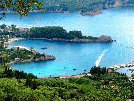 paleokastritsa: paleokastritsa famous resort beach coast in the ionian sea landscape on Corfu island