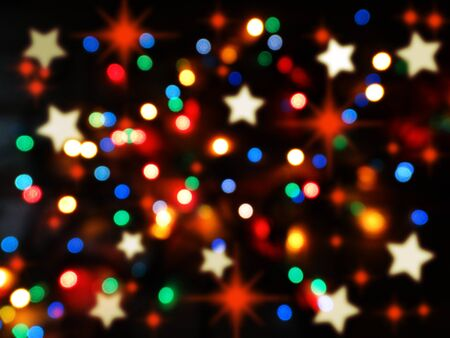 abstract background colorful blurred chrismas light garland Stock Photo