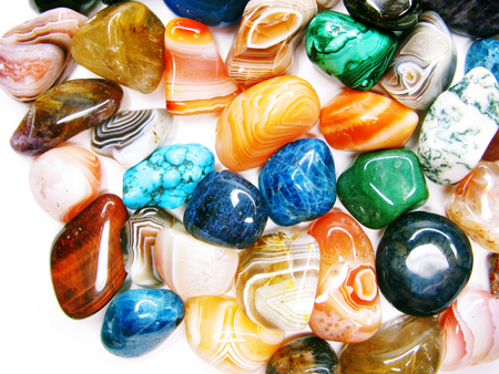 amethyst quartz avanturine sodalite garnet semigem crystals geological mineral set isolated  Stock Photo