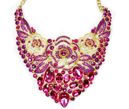 jewelry necklace with bright multicolor crystals luxury fashion accessory