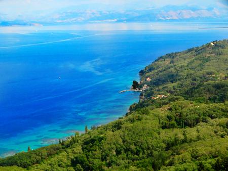 blue lagoon of beach coast in the ionian sea landscape on Corfu island