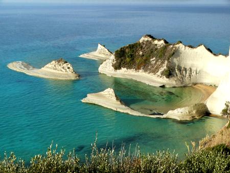 beach coast in the ionian sea landscape on Corfu island