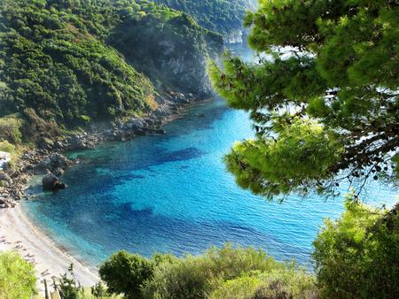 blue lagoon beach coast in the ionian sea landscape on Corfu island