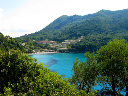 Beautiful  lagoon beach coast in the ionian sea landscape on Corfu island