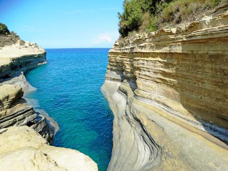 canal damor famous beach coast in the ionian sea landscape on Corfu island Stock Photo