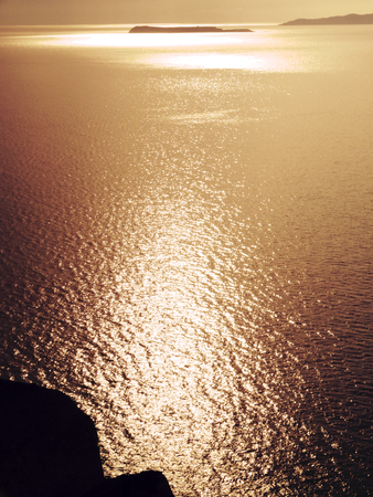 blue sea with sun beams background in the ionian sea landscape on Corfu island Stock Photo