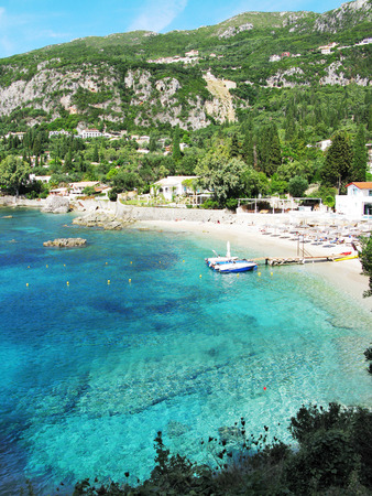 paleokastritsa famous resort beach coast in the ionian sea landscape on Corfu island