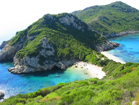 porto timoni blue lagoon beach coast in the ionian sea landscape on Corfu island Stock Photo