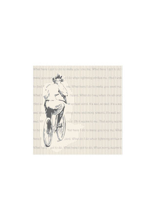 restrained: Elderly woman on a bicycle