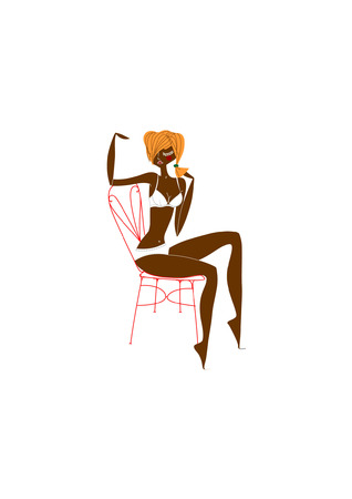 Black babe on the red chair Illustration