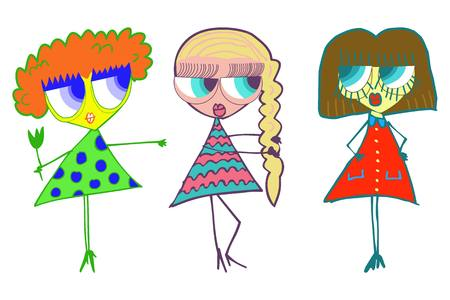 Three girls girlfriend Vector