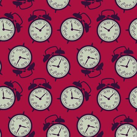 The pattern of the alarm clocks in retro style Vector