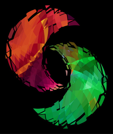 Yin-yang symbol, ice and fire Vector