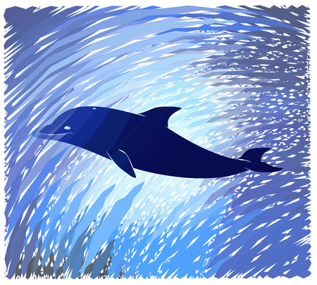 seabed: silhouette dolphin inside the seabed with corals, algae, fish and turtle, color and black and white versions, white background