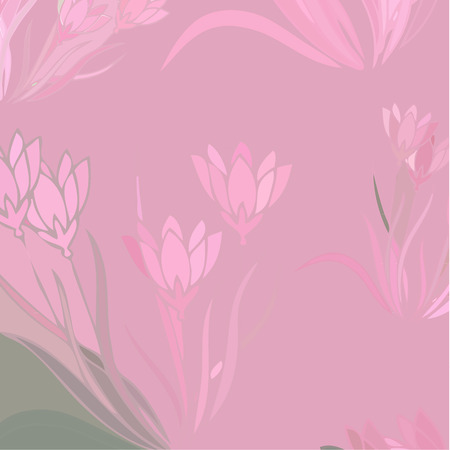 Floral Background With Blooming Lilies, Vector Illustration Illustration