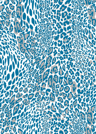 Seamless blue leopard texture pattern. EPS 8 vector illustration. Vettoriali