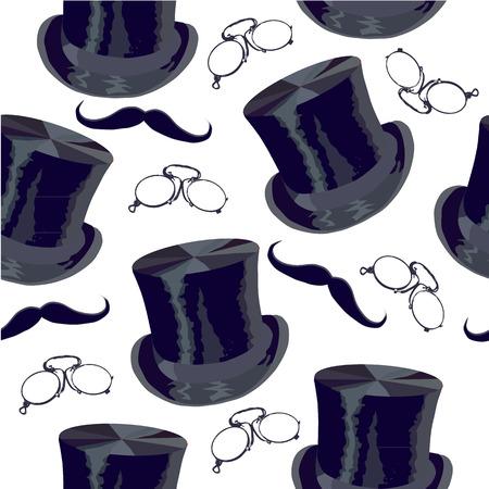 Art Deco seamless pattern, retro style, vector illustration mustache, hat, sunglasses, tube