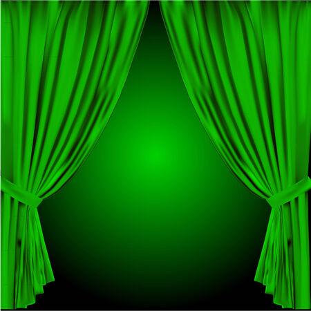 green curtain vector Vector