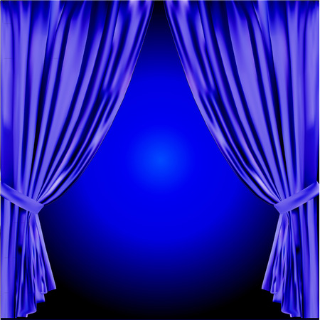 slightly: blue stage curtain slightly open